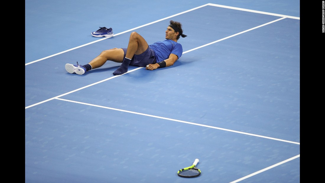 Rafael Nadal loses his shoe after slipping during a match against Lucas Pouille of France in the Men's singles first round on day four of 2017 China Open on Tuesday, October 3 in Beijing.