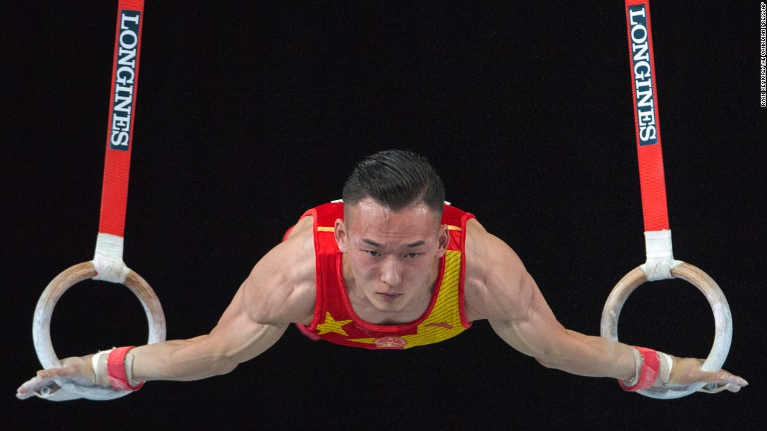 Ruoteng Xiao of China performs on the rings in the men's individual All-Around Final at the Artistic Gymnastics World Championships on Thursday, October 5, in Montreal. Xiao would go on to win the gold medal.