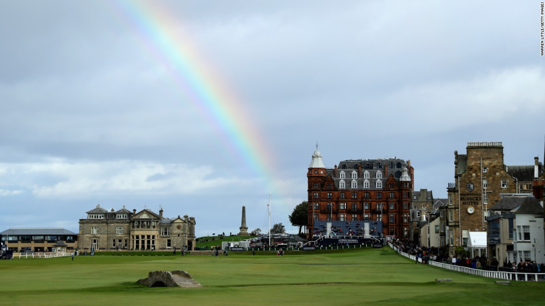 A rainbow is pictured over the 18th hole during day three of the 2017 Alfred Dunhill Championship at The Old Course on Saturday, October 7, in St. Andrews, Scotland.
