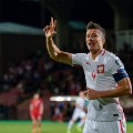 Lewandowski celebrates world cup qualification poland