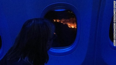 Janice Abdalla captured this image of fires on a Monday flight into San Francisco International Airport.