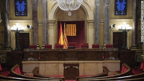 A picture shows the empty interior of the Catalan regional parliament in Barcelona on October 10, 2017 ahead of an address by Catalonia's leader. Spain's worst political crisis in a generation will come to a head as Catalonia's leader could declare independence from Madrid in a move likely to send shockwaves through Europe.  / AFP PHOTO / LLUIS GENELLUIS GENE/AFP/Getty Images