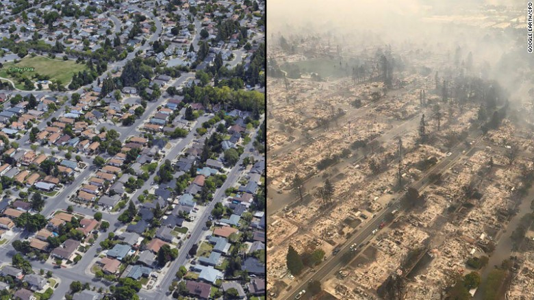 Aerial views show Santa Rosa's Coffey Park neighborhood before and after the wildfires.