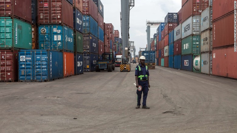 Lagos Tin-Can Island container terminal in Apapa. The port sector is hamstrung by corruption and inefficiency.