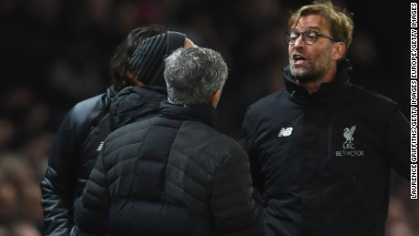 Mourinho and Liverpool boss Jurgen Klopp argue on the touchline during a Premier League match between their sides in January.