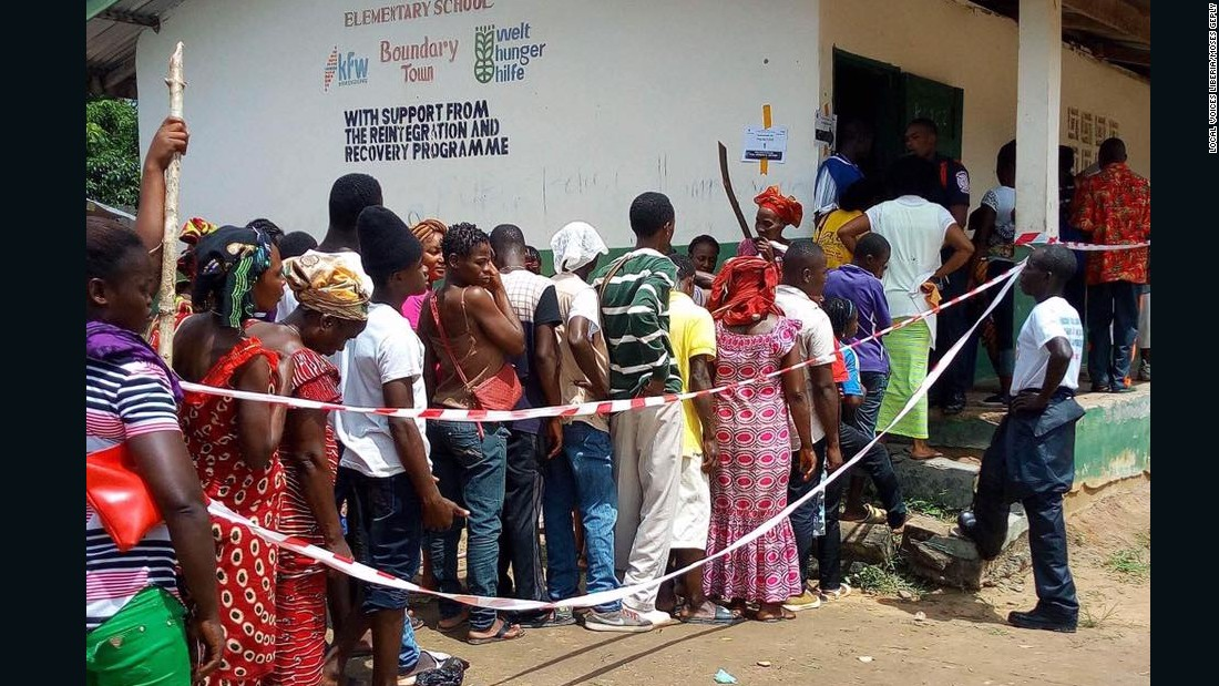Voters in Konobo electoral District #2 in Grand Gedeh County, waiting to cast their votes in the 2017 Liberian presidential election.<br />Credit: Local Voices Liberia/Moses Geply