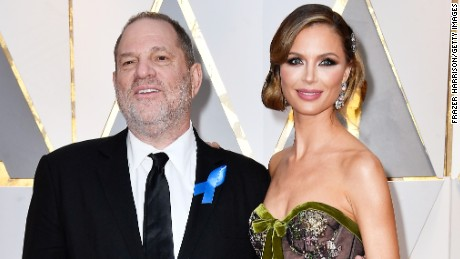 Georgina Chapman (R) pictured with husband Harvey Weinstein at the 2017 Oscars.