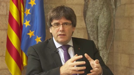 catalan president carles puigdemont to nic robertson no preconditions to negotiate with spain SOT_00001015