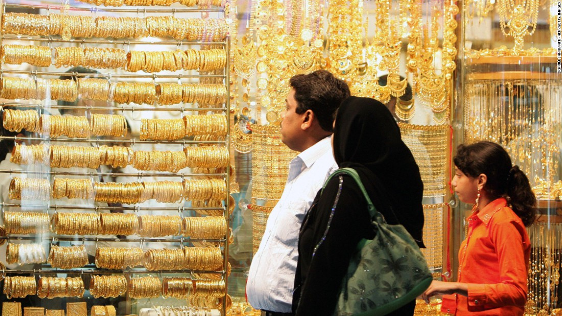 The gold souk in Dubai is a popular destination to purchase gold and jewelry. In recent years, Indians have been traveling to Dubai to purchase gold for their weddings.