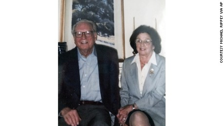 This undated photo provided by their son Michael Rippey shows Charles and Sara Rippey. Charles, 100, and Sara, 98, were unable to leave their Napa, Calif., home, and died when the Tubbs fire swept through. Their bodies were found Monday, Oct. 9, 2017.