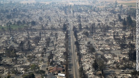 Hundreds of homes in the Coffey Park neighborhood that were destroyed by the Tubbs Fire on October 11, 2017 in Santa Rosa, California. At least 21 people have died in wildfires that have burned tens of thousands of acres and destroyed over 3,000 homes and businesses in several Northen California counties.