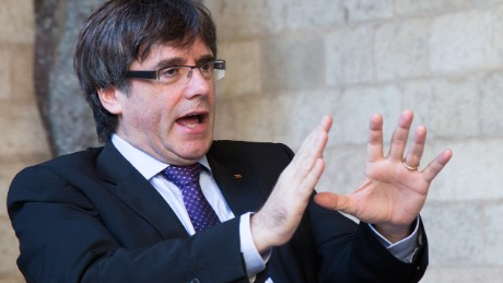 Catalan President Carles Puigdemont speaks to CNN on Wednesday, October 11 in Barcelona.
