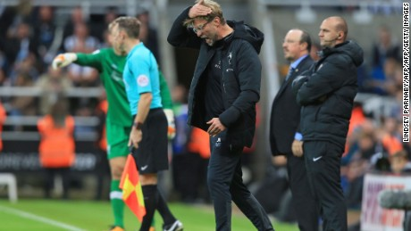 Klopp frustrated on the sidelines during his team's league encounter against Newcastle.
