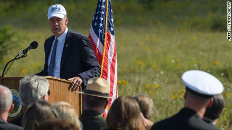 Visitors listen to Secretary of the Interior Ryan Zinke on September 10 in Shanksville, Pennsylvania.