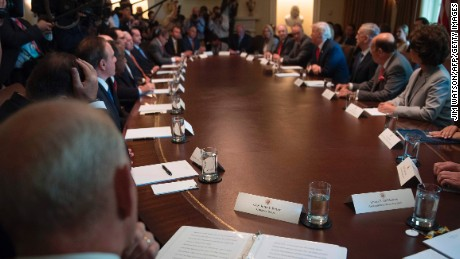 White House Chief of Staff John Kelly (L) sits in on his first cabinet meeting at the White House in Washington, DC, on July 31, 2017. HHS Secretary Tom Price resigned on September 29. (JIM WATSON/AFP/Getty Images)