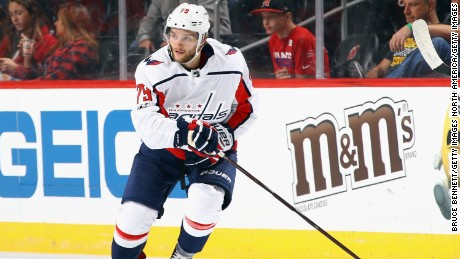 NEWARK, NJ - SEPTEMBER 18: Nathan Walker #79 of the Washington Capitals skates against the New Jersey Devils during a preseason game at the Prudential Center on September 18, 2017 in Newark, New Jersey. The Devils defeated the Capitals 4-1.  (Photo by Bruce Bennett/Getty Images)