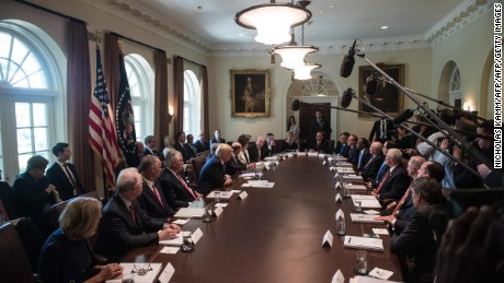 A cabinet meeting at the White House on June 12, 2017.