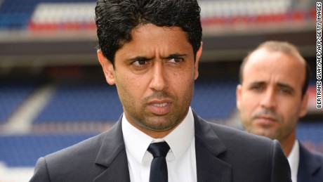 Paris Saint-Germain's Qatari president Nasser Al-Khelaifi (L) looks on during a press conference at the Parc des Princes stadium in Paris on August 8, 2016. / AFP / BERTRAND GUAY        (Photo credit should read BERTRAND GUAY/AFP/Getty Images)