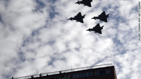 Spanish Eurofighter planes fly during the Spanish National Day military parade in Madrid on Thursday.