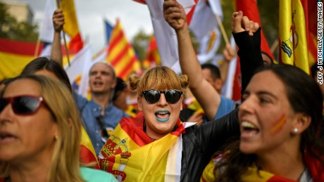 As well as National Day celebrations across the country, thousands of opponents to Catalonian independence also gathered in Barcelona in a show of unity.