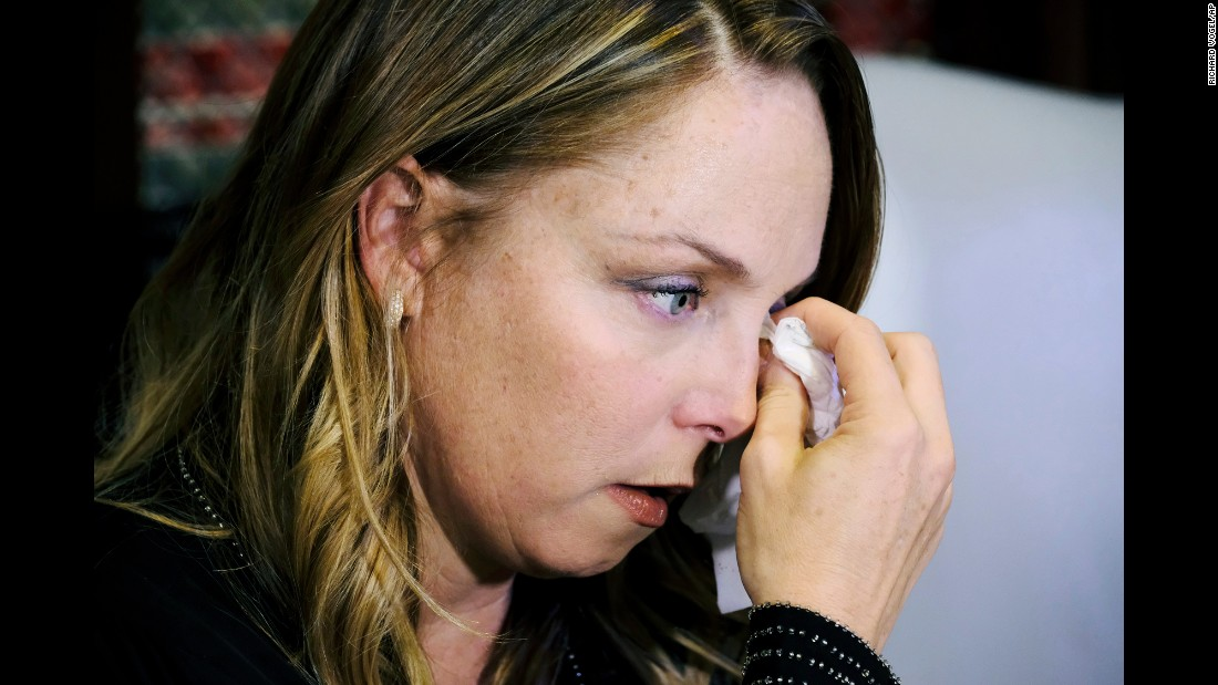 "Louisette Geiss wipes away a tear after talking at <a href=""http://www.latimes.com/entertainment/la-et-entertainment-news-updates-latest-weinstein-accuser-former-1507665743-htmlstory.html"" target=""_blank"">a news conference</a> in Los Angeles on Tuesday, October 10. The former actress is one of the women who have come forward <a href=""http://money.cnn.com/2017/10/11/media/harvey-weinstein-scandal/index.html"" target=""_blank"">to accuse film producer Harvey Weinstein</a> of sexual harassment and inappropriate behavior. Weinstein was fired from The Weinstein Company following an extensive <a href=""https://www.nytimes.com/2017/10/10/us/gwyneth-paltrow-angelina-jolie-harvey-weinstein.html"" target=""_blank"">New York Times report</a> that detailed allegations spanning decades. Weinstein has also been accused of rape by multiple women, <a href=""https://www.newyorker.com/news/news-desk/from-aggressive-overtures-to-sexual-assault-harvey-weinsteins-accusers-tell-their-stories"" target=""_blank"">according to a story in The New Yorker magazine.</a> A spokeswoman for Weinstein said ""any allegations of non-consensual sex are unequivocally denied by Mr. Weinstein."""