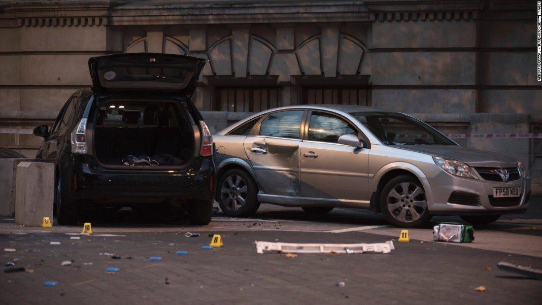 "Damaged vehicles are seen near London's Natural History Museum, where at least 11 people were injured when <a href=""http://www.cnn.com/2017/10/08/europe/london-car-collision-man-released/index.html"" target=""_blank"">a car jumped the pavement and hit pedestrians</a> on Saturday, October 7. The incident was not related to terrorism, police said, and a man who was detained at the scene was later released."