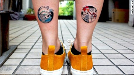 A pair of tattoos by Shi Ryu Doh.