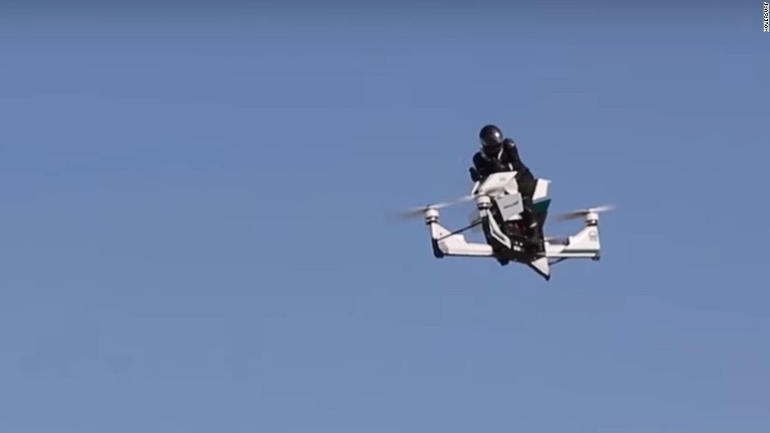 "Created by Russian tech startup Hoversurf, the Scorpion is a hoverbike which took to the skies of Dubai in October. After appearing at trade shows earlier in 2017, Hoversurf signed a memorandum of understanding with Dubai Police to develop the concept further. There have been reports the Scorpion has a top speed of 124mph, and would provide another fast response method, should the police's <a href=""http://edition.cnn.com/style/gallery/dubai-police-supercars/index.html?gallery=%2F%2Fcdn.cnn.com%2Fcnnnext%2Fdam%2Fassets%2F170321162454-dubai-police-bugatti.jpg"">supercar patrol fleet</a> be otherwise engaged."