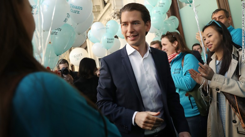 Sebastian Kurz, Austrian Foreign Minister and leader of the conservative Austrian People's Party (OeVP), arrives to speak to supporters outside OeVP headquarters on October 13, 2017 in Vienna, Austria. Austria faces parliamentary elections on October 15 and the OeVP is currently leading in polls. Many analysts predict the OeVP will form a coalition with the right-wing Austria Freedom Party (FPOe) in the next Austrian government.