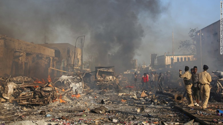 At least 20 people died and others were wounded in a bombing Saturday in Mogadishu,
