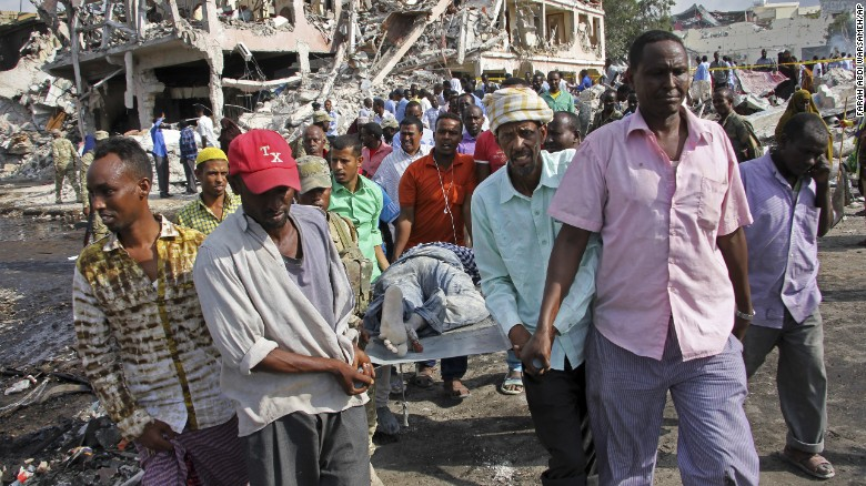Hundreds of people were killed in double car bomb blasts in the Somali capital of Mogadishu on Saturday, October 14, 2017, an official said.