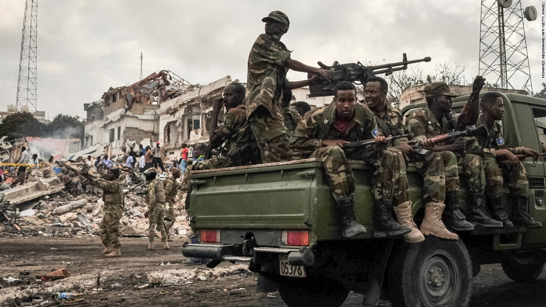 Somali soldiers patrol the area, but there had been no claims of responsibility by Sunday night.