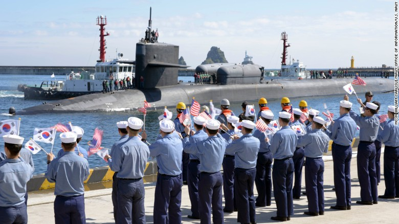 The Ohio-class guided-missile submarine USS Michigan pulls into Busan Naval Base in South Korea on Friday.