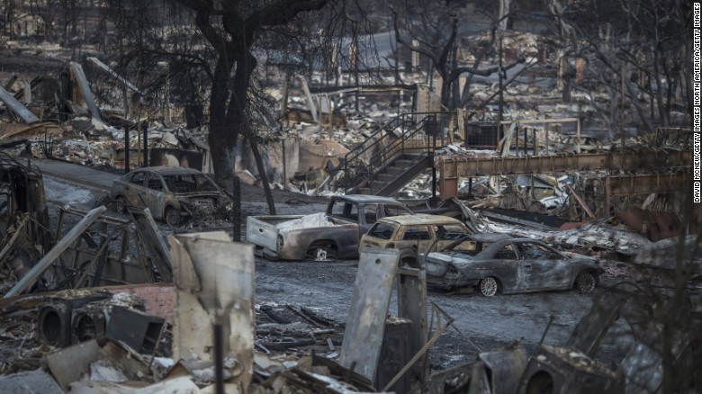 The ruins of houses destroyed by the Tubbs Fire are seen on October 14 in Santa Rosa.
