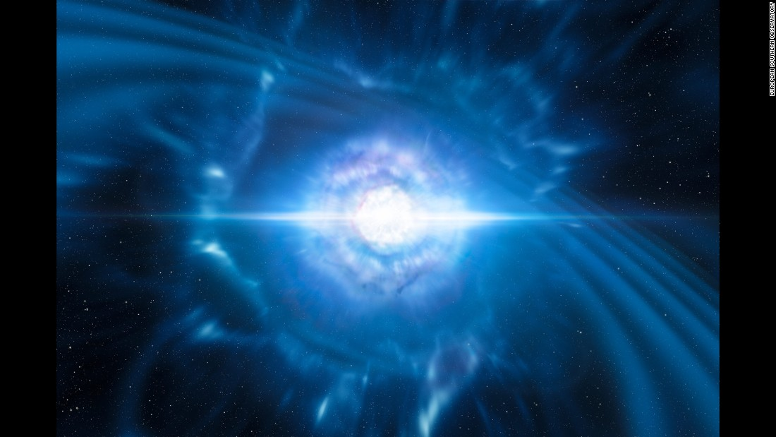 This is another artist's impression of two tiny but very dense neutron stars at the point at which they merge and explode as a kilonova.