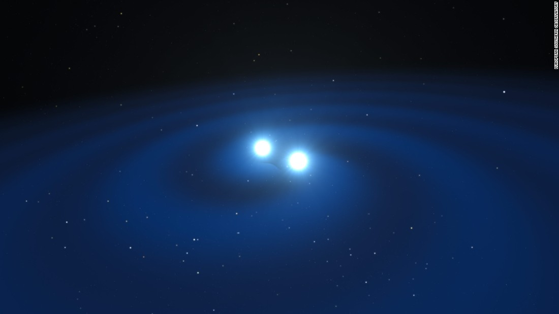 This artist's impression shows the spiral death dance of the two stars before colliding.
