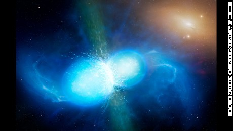 This artist's impression shows two tiny but very dense neutron stars at the point at which they merge and explode as a kilonova. Such a very rare event is expected to produce both gravitational waves and a short gamma-ray burst, both of which were observed on 17 August 2017 by LIGO--Virgo and Fermi/INTEGRAL respectively. Subsequent detailed observations with many ESO telescopes confirmed that this object, seen in the galaxy NGC 4993 about 130 million light-years from the Earth, is indeed a kilonova. Such objects are the main source of very heavy chemical elements, such as gold and platinum, in the Universe.
