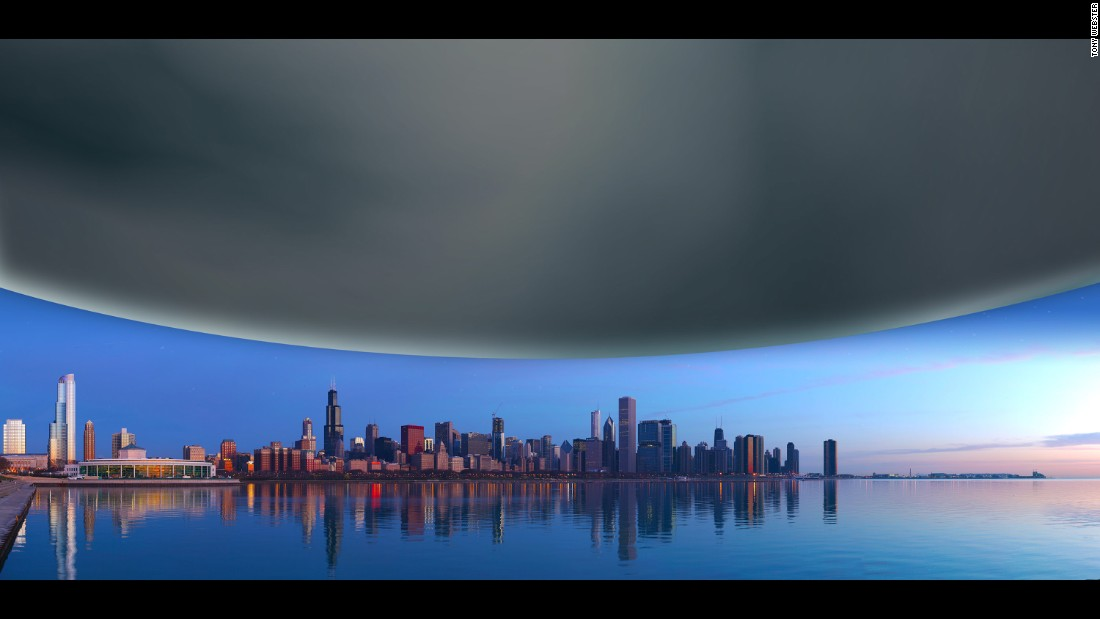 Neutron stars are incredibly dense, squeezing more than the mass of the sun into a sphere the size of a city. The diameter of a neutron star is about 12 miles, shown here scaled against the Chicago skyline for comparison.
