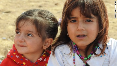Yazidi girls whose families fled when ISIS fighters took over their village three years ago.