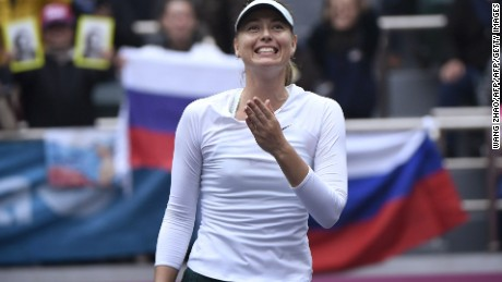Maria Sharapova of Russia celebrates after winning her women's singles final match against Aryna Sabalenka of Belarus at the Tianjin Open tennis tournament in Tianjin on October 15, 2017. / AFP PHOTO / WANG Zhao        (Photo credit should read WANG ZHAO/AFP/Getty Images)