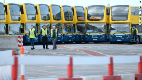 Buses at a depot in Dublin sit idle after services were cancelled due to the storm.