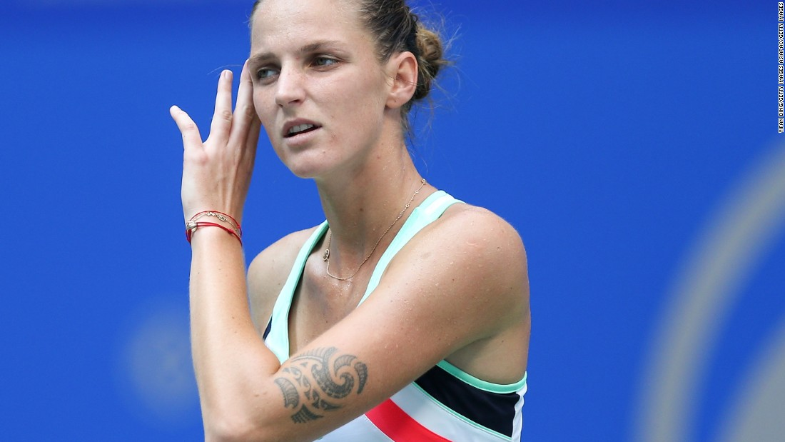 Czech tennis player Karolina Pliskova has two Polynesian-style tattoos, one on her left thigh and the other on her left arm -- they come in useful when needing to tell her and her twin sister, Kristyna, apart.