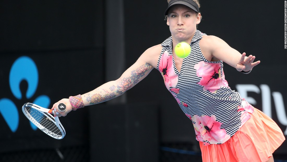 Tennis player Bethanie Mattek-Sands adds color to the court in a variety of ways.  The American has a tattoo of a large flowery design, which features honeybees, on the inside of her right arm.