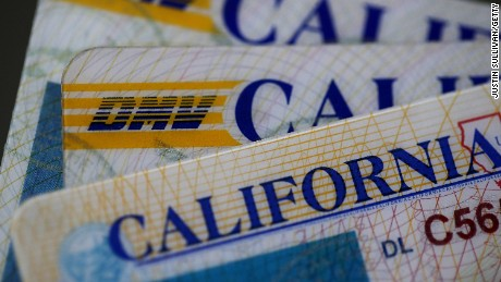 In this photo illustration, the California DMV logo appears on a California driver's license on May 9, 2017, in San Anselmo, California.
