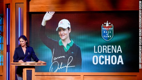 NEW YORK, NY - SEPTEMBER 26:  Lorena Ochoa is on stage as she is inducted into the World Golf Hall Of Fame on September 26, 2017 in New York City.  (Photo by Roy Rochlin/Getty Images)