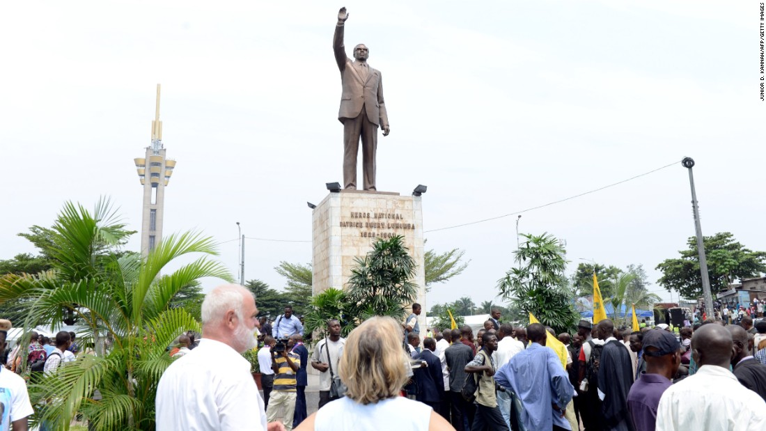 A statue of former Congolese President Patrice Lumumba in Kinshasa.