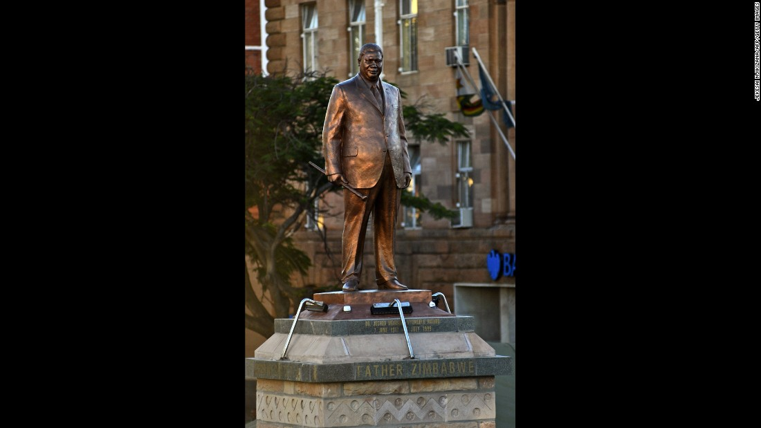 A bronze statue of Zimbabwe's Joshua Nkomo, the leader and founder of the Zimbabwe African People's Union, in the city of Bulawayo.