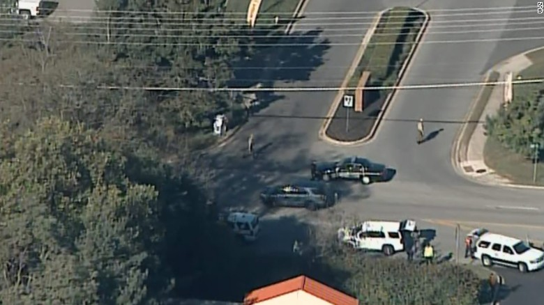 Aerial view of law enforcement vehicles after a shooting at a business park in Edgewood, Maryland, on October 18, 2017.