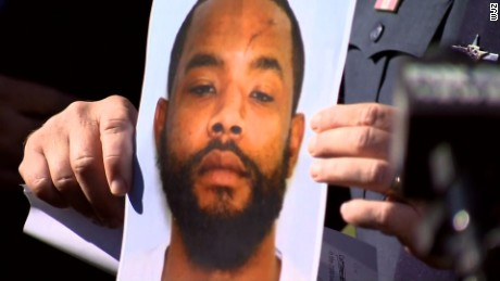A picture of Radee Labeeb Prince -- who police said is believed to have shot five people Wednesday -- is shown to reporters at a news conference.