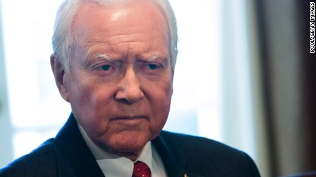 Sen. Orrin Hatch (R-UT), Chairman of the Senate Finance Committee, listens to U.S. President Donald Trump speak during a meeting  with members of the Senate Finance Committee and his economic team October 18, 2017 at the White House in Washington, D.C. (Chris Kleponis-Pool/Getty Images)